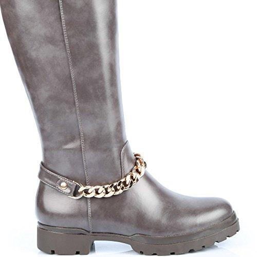 Ideal Shoes–Stivali levigate decorati di una catena métalisée Bernadeta Grigio