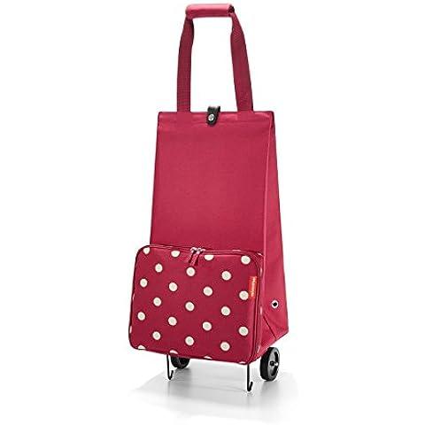 Reisenthel FoldableTrolley, Carro de la Compra, Cesta de la Compra Plegable Ruedas, ruby dots / rojo granate con puntos blancos,