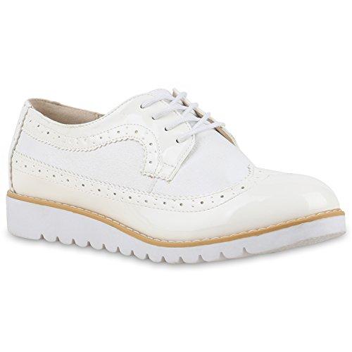 Damen Halbschuhe Lack Glitzer Brogues Dandy Schuhe Profilsohle Weiß