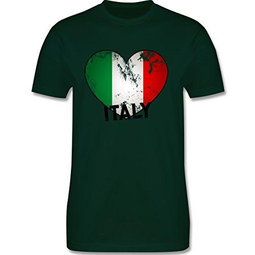EM 2016 - Frankreich - Italien Herz Vintage - Herren Premium T-Shirt Dunkelgrün