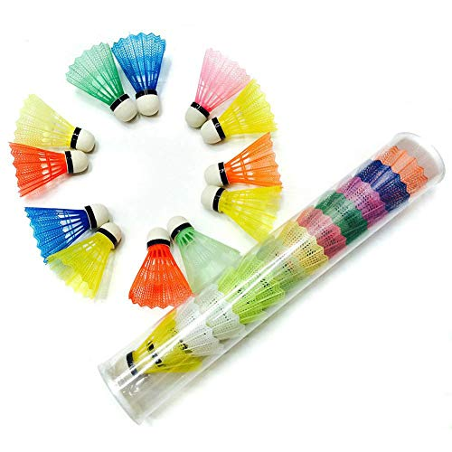 DrafTor Colorful Badminton Federbälle, Kunststoff Federbälle Geeignet für Kinder Oder Erwachsene Indoor und Outdoor Sport-zufällige Farbe, 6Pcs