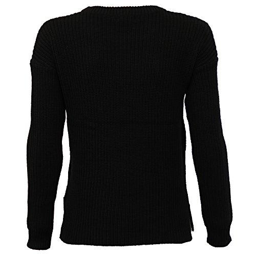 femmes Câble pull tricoté Sweatshirt par Brave Soul Noir - 248brint