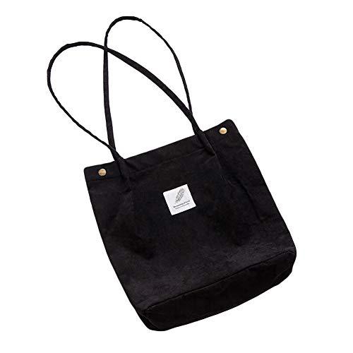 Schwarz Canvas-tasche (Luxanne Canvas Tasche Damen Mädchen Handtasche/Umhängetasche Groß Fashion Schultertasche Hobo Bags Stofftasche)