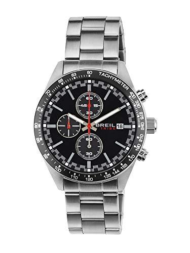 Breil orologio uomo fast quadrante mono-colore nero movimento chrono quarzo e bracciale acciaio ew0321