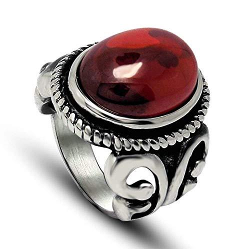 Weiser Herren Mann Kostüm Rot - Aienid Ring Männer Edelstahl Punk Vintage Zirkonia Rot Stone Rot Ring Für Herren Size:65 (20.7)