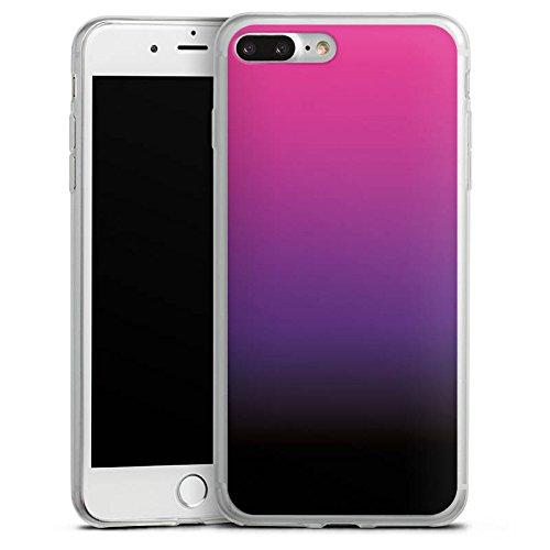 Apple iPhone 8 Slim Case Silikon Hülle Schutzhülle Pink Schwarz Farbverlauf Silikon Slim Case transparent