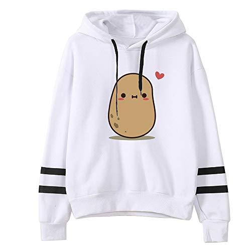 Hoodies Sweatshirt Frauen Solide Striped Cute Potato Printing Sweatshirt Beiläufige Lose Langarm Fashion Sweatshirt Pullover Hoodies Tops