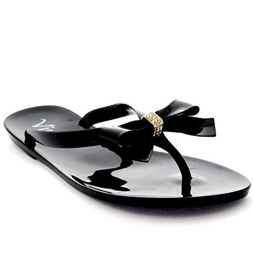 Damen Sommer Urlaub Schlüpfen Schuhe Bogen Gelee Flip-Flops Sandalen Schwarz