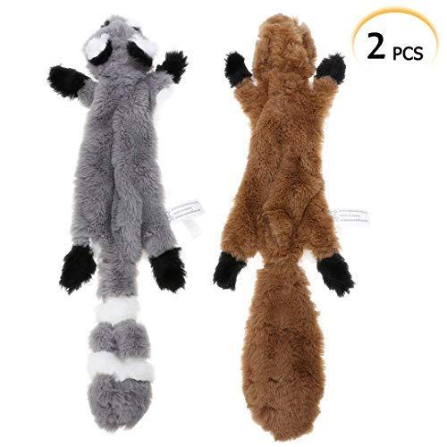 Hundespielzeug, ohne Füllung, 2 Stück, Eichhörnchen, Waschbär, Plüsch, Spielzeug für Kleine und mittelgroße Hunde, 42 cm