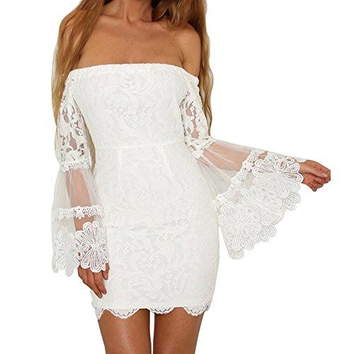 Damen Schulterfreies Blumen Spitzen Kleid Lange Glocke Ärmel Bodycon Schlauch Kleid für Party Hochzeit ,  ( Weiß - L )
