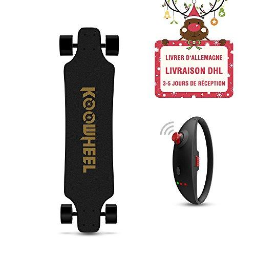 KOOWHEEL Skateboard Électrique kooboard, cool bracelet de télécommande,1 sac, 2 roues supplémentaire, 2 autocollants, super vitesse 40km/h,noir