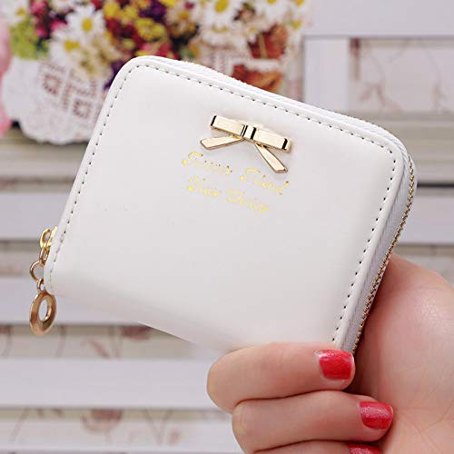 QLOH Brieftasche Candy Color Bow Tie Coin Purse for Women Item Credit Card Organizer Zipper Lady Letter Pouch Clutch Cute Concise Wallet (Candy Coin)