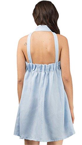 Moda Senza Maniche Collar Cerniera sul davanti Zip Up Arricciato Mini Corte Corta Svasato a trapezio Maternità Dress Vestito Abito Blu