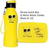 Kieana Smiley Bottle & Lunch Box For Kids, Water Bottles & Tiffin Boxes Combo Set, Tifin Set For Kids, Cartoon Animated Printed Designer Food Container, Sipper For Drinking Milk, Juices, Shakes, Coffee Etc, Specially Designed For School Going Boys