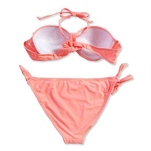 WTL Badeanzug Mode Badeanzug Brust Naht Blume Schwarz Rot Rosa Blau Hanging Neck Bikini Blau