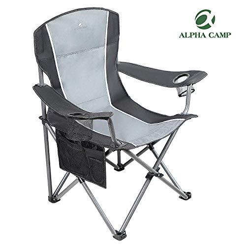 ALPHA CAMP Camping Stuhl 150kg Anglerstuhl Faltstuhl Klappstuhl mit Armlehne und Getränkehalter praktisch robust leicht tragbar (Schwarz/Grau)