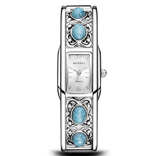 SW Watches BAOSAILI Retro Frauen Armreif Armbanduhr Reizender Künstlicher Türkis Lady Hohe Qualität Kleid Uhr