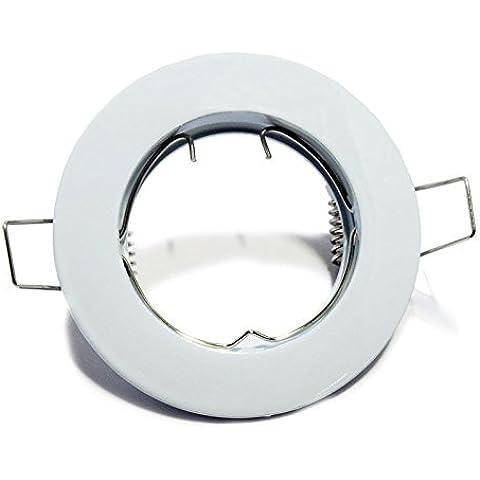 Aro empotrable circular fijo o basculante. Oculo. Ojo de buey para dicroicas. Halógenas o LED (Blanco (fijo))
