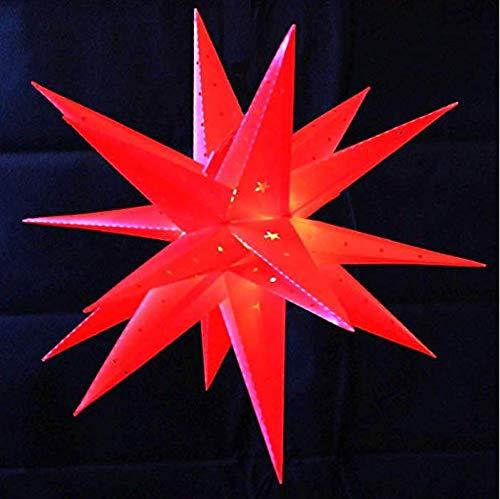 Weihnachtsstern Rot 58cm LED Batterie Innenstern Außenstern 3D innen außen Stern Leuchtstern