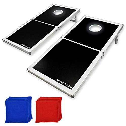 GoSports Cornhole PRO Sitzsack Wurfspiel-Set – faltbar (Schwarz, LED, Rot und Blau), Regulation Size