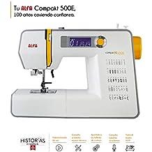 Domestica. Alfa Compakt 500E Plus Máquina de Coser electrónica, compacta y portatil, Estructura metálica,