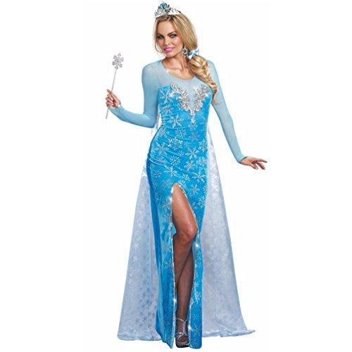 Reina de hielo traje, tamaño S, vestido de color azul claro con tiara, cuentos princesa de hielo de Ice Age