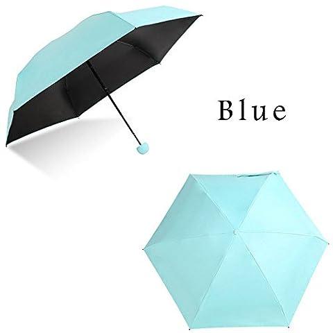 Mini parapluie de parapluies de voyage Format de poche Ombrelle Anti UV–-rain et protection UV coupe-vent et étanche, bleu