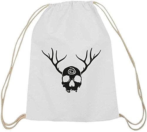 Shirtstreet24, Td - Cranio E Corna, Cotone Naturale Turnbeutel Borsa Sportiva Zaino Bianco Naturale