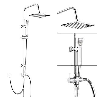 iBathUK   Modern Chrome Riser Rail Mixer Square Shower Head Kit for Bath Tap SP5106