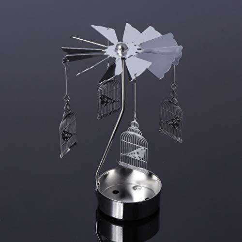 Wanfor Drehbarer Teelichthalter aus Metall Karussell Kerzenhalter Heimdekoration Geschenke, 9 Muster, Eisen, Silber, Cage Bird
