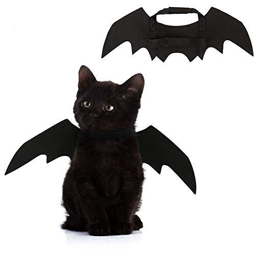 XIYAO Halloween Pet Poncho Fledermausflügel Kostüm Vampir Flügel Kleidung für Hund Katze Kätzchen Welpen Schwarz