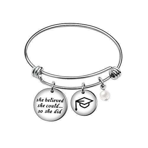AGR8T Armreif Armband Best Friend Jewelry Frauen Mädchen Pearl Graduation Tasse Sie glaubte, Sie könnte so, Sie DID Tasse Pearl