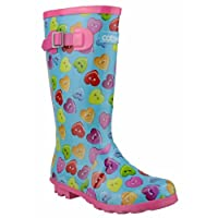 Cotswold Girls Button Heart Wellingtons Blue and Multi