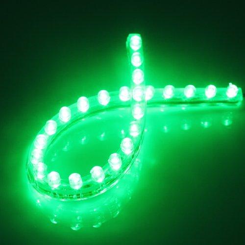 Preisvergleich Produktbild 24 LED Streifen Stripe Lichtleiste Auto Innenraumbeleuchtung auch fuer Garten Wasserdicht Gruen