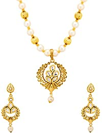 Voylla Traditional Alloy Necklace Sets With Kundan In Yellow Gold Plating For Women