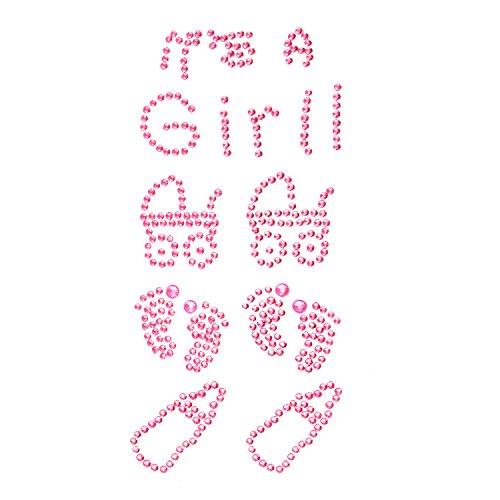 Oblique Unique® Konfetti Its a Girl Strass Steine Rosa Mädchen Fläschchen Sticker zum Verzieren Aufkleben Einkleben von Karten Geschenken - Geburt Baby Shower Taufe