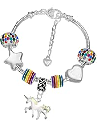 Girls Magical Unicorn Sparkly Charm Bracelet Set with Greeting Card and Gift Box Kids Jewellery