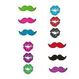 Marcadores de cristal ideal para casa – Juego de 12 Color Estilo de labios y barba – Identificadores de cristal