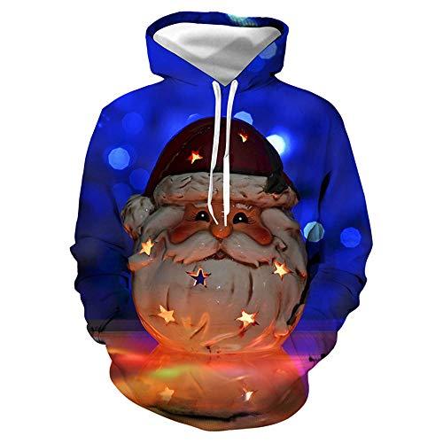 qulvyushangmaobu Unisex 3D hässliche Weihnachten Pullover Weihnachten Sweatshirt Langarm Top T-Shirt Kleidung Weihnachten Hoodie Mode Santa Digital Print große Puppe Geschenk Print Hoodie