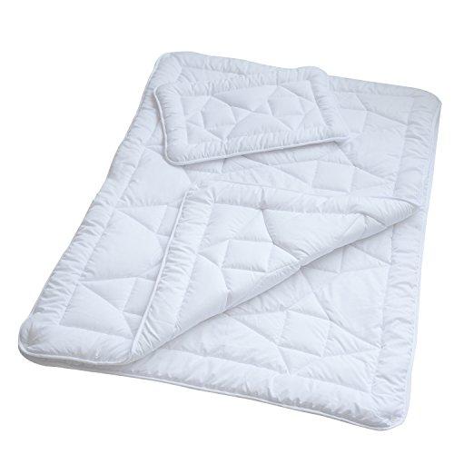 Kinder 4-Jahreszeiten-Bettdecke, 100 x 135 cm Mikrofaser Baby-Steppdecke im Set mit 1x Kopfkissen 40 x 60 cm (Kinderbett-set)