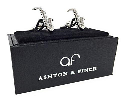 Ashton & Finch Saxophon Manschettenknöpfe MIT PRÄSENTATIONS GESCHENKKASTEN - Massives Messing - Rhodium überzogenes