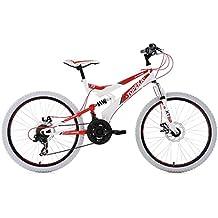 KS Cycling Niños Mountain Bike MTB Fully Topeka bicicleta, color blanco y rojo, 24