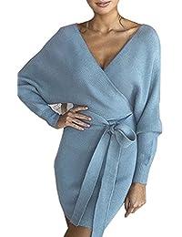 ASSKDAN Femme Elégant Robe Pull Tricoté Col V Croisé Manche Longue Robe Crayon avec Ceinture