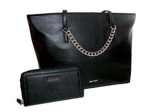 New Nine West Logo Purse Shoulder Hand Bag & Matching Wallet 2 Piece Set Black -