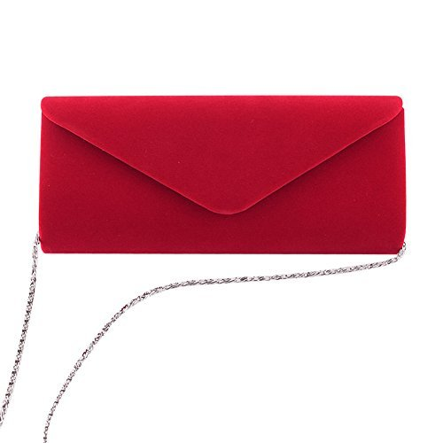 Clorislove Damen Samt Clutch Tasche Hochzeit Handtasche Abendtasche (Rot)