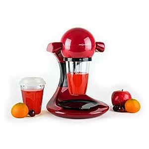 oneConcept Smooothy - Appareil à smoothie fruits et légumes avec design moderne et utilisation facile (350W, 3 récipients, nettoyage facile) - noir/rouge