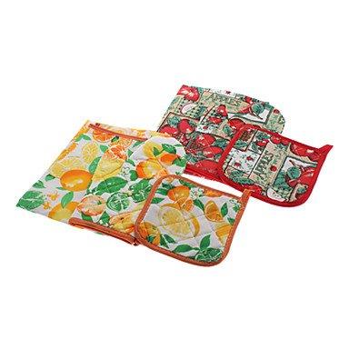Preisvergleich Produktbild Bang Fruits Pattern 75x55cm Schürze mit Topflappen & Backofen Mitten Set (zufällige Farbe)
