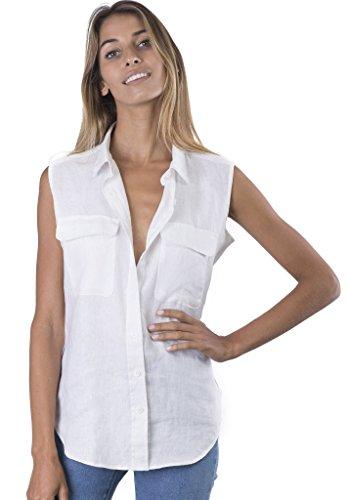 CAMIXA 100% Leinenhemd für Damen, Casual ärmellose Bluse mit Taschen, Loose Top XL Weiß