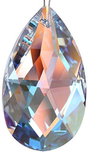 Kristallset mit Swarovski Kristalle Facetten Wachtel Tropfen 50mm (AB) Aurora Borealis irisierend und Rieser® Aufhängeset - Feng Shui Deko