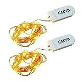 CMYK® 2 Stück 30er LED Lichterkette Warmweiß Innen Micro Draht Batterie-betrieben 9.8 Ft/3M